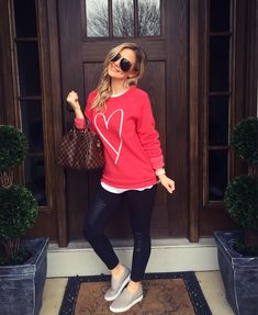 """Because, what else would I wear today!?! ❤️❤️ My cozy sweatshirt is still available in ALL sizes - and don't worry, I will continue wearing it long after VDay becasue it is sooooo good  I'm off the spend the day with my hubby  in his """"favorite leggings""""  and hopefully make a pit stop at Ulta  Shop my OOTD with @liketoknow.it or at Liketoknowit.it/thestyledduo  Happy Valentines Day, my loves!! Xoxo Amanda  http://liketk.it/2qpik #liketkit"""