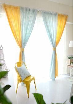 [Yoshiya] Mary Blue Larry Korean garden fabric curtains living room bedroom balcony