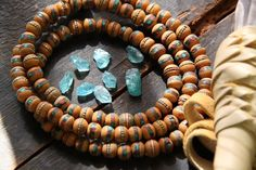 Wooden Spice / Coral, Turquoise Inlaid Wood Beads / 9-10mm Rondelle Beads from Nepal, Tibet
