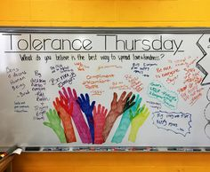 Being different is hard. I work with students every day who are all unique and have their own beautiful backgrounds. My promise to them is that my room will always be their place to grow, to be loved, to be safe, and to just be who they are. ❤️✌ Today was Tolerance Thursday, what do you believe is the best way to spread love and kindness? #whiteboard #whiteboardart #morgansadvisorycrew #highschool #freshman #education #arteducation #artteacher #artteacherlife #artteachersofinstagram…