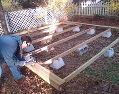 Affordable and quick freestanding deck. Perfect for working around tree roots.