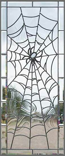 Stained glass spider and web - A unique leaded glass window. Stained Glass Panels, Leaded Glass, Stained Glass Art, Mosaic Glass, Beveled Glass, Stained Glass Projects, Stained Glass Patterns, Goth Home, 3d Home
