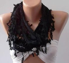 Black Lace and Elegance Shawl / Scarf  with Lace by SwedishShop, $17.90