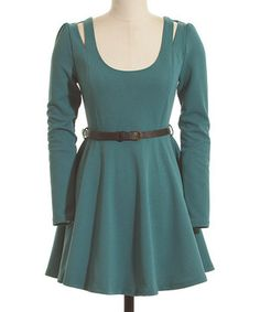 This Blue Cutout Belted A-Line Dress by Coveted Clothing is perfect! #zulilyfinds