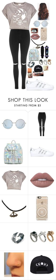 """Untitled #503"" by lifeasgege on Polyvore featuring Topshop, adidas Originals, River Island, Lime Crime, Casetify and LeiVanKash"