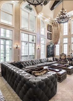 Victorian style modern living room decor with black leather soho sectional and antique chandeliers #interiordesign #design #interior #homedecor #architecture #home #decor #interiors #homedesign #art #interiordesigner #furniture #decoration #luxury #designer #rh #restorationhardware #interiorstyling #interiordecor #homesweethome #inspiration #handmade #furnituredesign #livingroom #interiordecorating #style #realestate Space Furniture, Furniture Design, Living Room Decor Traditional, Aesthetic Rooms, Best Interior Design, Cushions On Sofa, Luxury Designer, Modern Living, Living Rooms