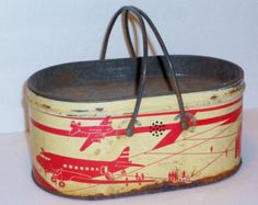 Vintage Tin Lithgraph Airplane Lunch Box, Lunch Pail, Collectible