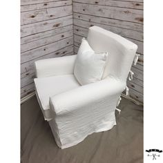 White tissue linen IKEA Jennylund slipcover with waterfall skirt, flat flange detail on cushions, and ties on back. By LS Slipcovers. #slipcover #Slipcovers