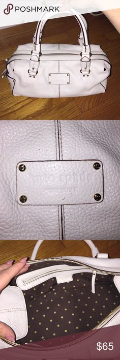 White Kate Spade Handbag White leather authentic Kate Spade hand bag. Brown interior. In perfect condition and rarely used. kate spade Bags Shoulder Bags