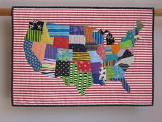 The challenge in making this quilt of the continental United States was to use only fabrics featuring either stars or stripes. I made a pattern for