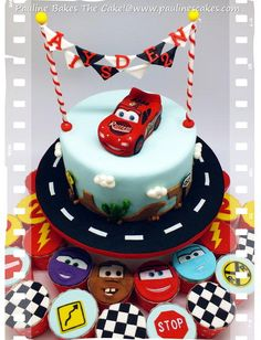 """Cars"" themed cake featuring a 3D sugar art figurine of Lightning McQueen with hand painted details for a little boy Ayden's 2nd birthday bash. Special thanks to Lesley of Royal Bakery for her half Lightning McQueen tutorial which helped me to get..."