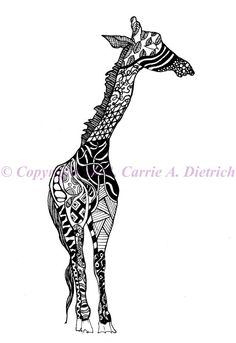 Pen and Ink Drawing Black and White Art Animal Print Nursery Art Giraffe Illustration Signed 12 x 18 Poster Print Home Decor Design Drawing