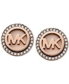 Michael Kors Rose Gold-Tone Mk Logo Disc Earrings