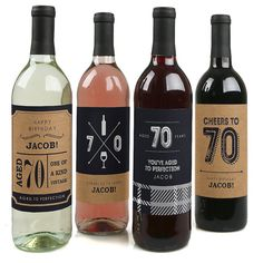 70th Milestone Birthday - Aged to Perfection - Custom Birthday Wine Bottle Labels - Set of 4 Personalized Sticker Labels