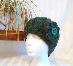 Handspun Cable Knit Beanie. Winter Hat. Dark Green Heather. Winter Wool Hat. Optional Crocheted Flower. Beanies for Women. Beanies for Men. by JoyfulHandKnits on Etsy