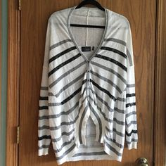 Sequin Striped Draped Cardigan Draped/batwing cardigan with sequined stripes. Oversized and cozy. When button, it has an interesting high-low hem. Worn just a couple times, this sweater is in perfect condition! Brand is Line. from Anthropologie. Feel free to make an offer! Anthropologie Sweaters Cardigans