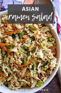 Asian Ramen Salad is great to serve for parties! We love the homemade Asian dressing paired with the crunch from the ramen noodles. This is a salad that's easy to make for parties and guests! for parties Asian Ramen Salad Coleslaw With Ramen Noodles, Asian Ramen Noodle Salad, Ramen Coleslaw Salad Recipe, Ramen Oriental Salad, Raman Noodle Salad, Asian Slaw Salad, Asian Cabbage Salad, Easy Salads, Dressings