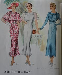 McCall Sewing Patterns from 1934-1935, featuring McCall 8130, 8144 and 8146