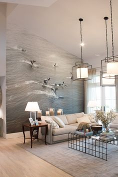 What an amazing idea! This photo wall in the HGTV Dream Home was created using a vintage surfing photo turned into a vinyl bus wrap and applied to the wall.
