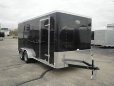 Black X Enclosed Cargo Trailer By ATC U2013 Aluminum Trailer Company. Rear Ramp  Door, A Side Door, Stone Guard, Roof Vent And Inside Height.