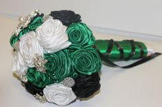 Emerald Green Black & White Brooch Bouquet by HeyBouquet, $70.00 - prefer if it had no black but otherwise love love love