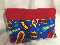 Super Hero Catch Phrase Cosmetic/Make Up/Travel Bag by MommyMaryCrafts on Etsy