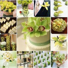 des bouquets de fleurs verts anis un gateau de mariage blanc et vert anis des escort cards posés devant une pomme ou un citron vert des centres de table composés de grands vases contenant pommes vertes ou citrons verts des bonbons présentés dans des coupes...