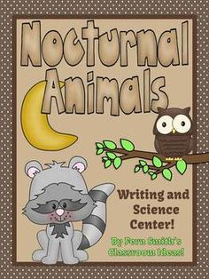 Nocturnal Animals Writing and Science Center #Science #TPT $paid #FernSmithsClassroomIdeas