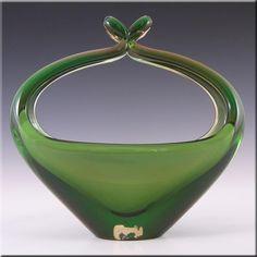 Skrdlovice Czech 1960's Glass Sculpture Bowl - Labelled - £44.99