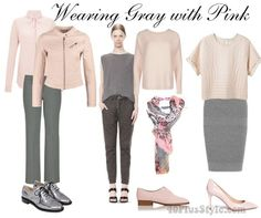 how to wear gray with with pink | 40plusstyle.com