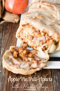 You HAVE to make these!! Apple pie pull apart bread with maple glaze! ohsweetbasil.com: