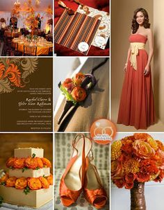bridesmaid dress brown, orange | ... orange and brown wedding color board take a look at the burnt orange