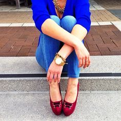 "Cobalt + Gold Accessories + Luichiny Shoes' ""Main Event"" in Wine = The Perfect Fall Ensemble!"