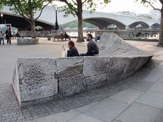 Landscape design and Architecture Landscape And Urbanism, Landscape Elements, Urban Landscape, Landscape Design, Urban Furniture, Street Furniture, Furniture Board, Stone Bench, Parking Design