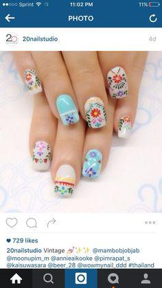 Cute Nail Art, Great Nails, Colorful Nail Designs, Nail Art Designs, Mexican Nails, Vintage Nails, Chrome Nails, Fancy Nails, Flower Nails