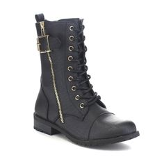 Forever FEW25 Women's Western Up Chunky Heel Mid Calf Combat Boots