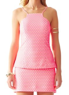 Lilly Pulitzer Costello Cut-In Strappy Top in Hotty Pink Geo Jacquard