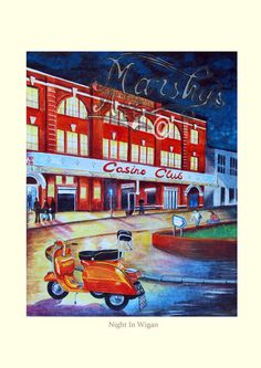 Vespa Scooter print. Wigan Casino scooter northern soul art print A3 by MarshysArtuk