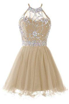94d32729353b Musever Women s Halter Short Homecoming Dress Beading Tulle Prom Dress  Champagne  dress  formaldress