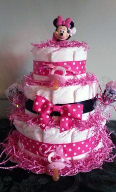 3 tier minnie mouse diaper cake - http://www.babyshower-decorations.com/3-tier-minnie-mouse-diaper-cake.html