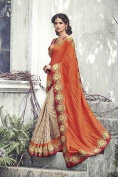 Orange Satin Wedding Saree