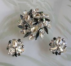 Signed Sherman Black and Clear Rhinestones by SweetBettysBling, $225.00