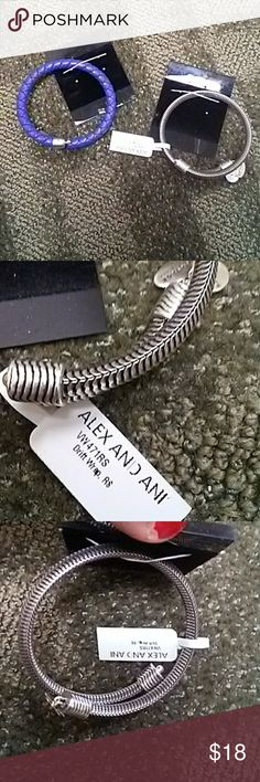 "TWO Alex and Ani bracelets! Shipping on here is crazy so why not double up and save yourself some money! One is silver/black and nwt. The other is a deep blue (not nwt). Both ""infused with energy technology."" I usually will accept offers/negotiate, but price is firm on these since there's a huge discount. Alex and Ani Jewelry Bracelets"