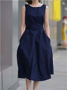 Round Neck Bowknot Patch Pocket Plain Skater Dress the latest fashion & trends in women's collection. Cheap Dresses, Casual Dresses For Women, Clothes For Women, Ladies Dresses, Women's Dresses, Dress Casual, Outfit Trends, Luxury Dress, Dress Silhouette