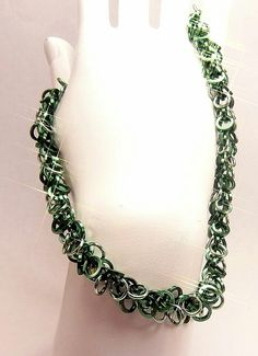 Green and seafoam shaggy loop necklace $40