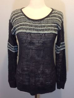 Free People S/P Multi-color Long Sleeve Striped Open hole knit sweater #FreePeople #Sweater