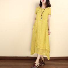 Women solid color  linen short sleeve gown