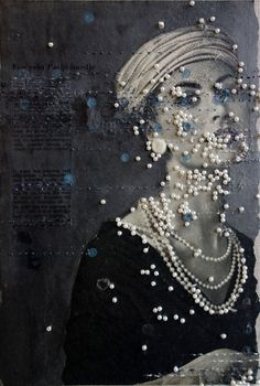 Bead embroidered altered photo by artist Hinke Schreuders Textile Fiber Art, Textile Artists, Mixed Media Collage, Collage Art, Foto Transfer, Atelier D Art, Paper Embroidery, Art Plastique, Fabric Art