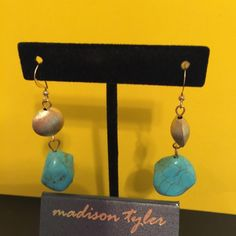 Real Turquoise and gold costume earrings Real Turquoise ear rings with gold accents by Madison Taylor costume jewelry Madison tyler Jewelry Earrings
