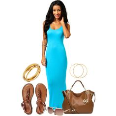 A fashion look from February 2015 featuring boohoo dresses, braided ankle-wrap sandal and michael kors shoulder handbags. Browse and shop related looks.